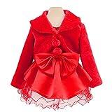 Genda 2Archer Princess Flower Girls Faux Fur Bolero Shrug Party Wedding Cape (Red, 6-7 Years)