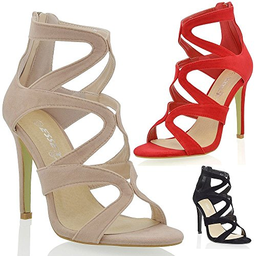 Essex Glam Womens Stiletto High Heel Cut Out Faux Suede Cages Strappy Party Shoes