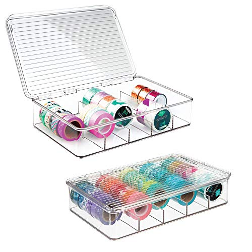 mDesign Plastic Art Supplies, Crafts, Crayons and Sewing Stacking Storage Organizer Box Container Holder Tidy with lid for organizing Washi Tapes Small Marker Ribbons Trims Beads - Set of 2, Clear