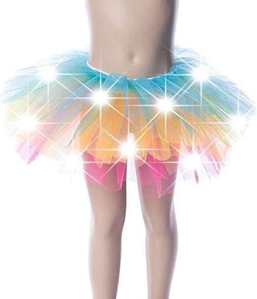 Fxhan - Falda de Danza LED para niña, Brillante, para Fiesta de ...