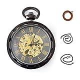 Steampunk Watch Open Face - BOSHIYA Skeleton Windup Mechanical Pocket Watch with Chain for Men Women Black