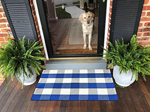 Ukeler Layered Door Mats Farmhouse- Washable Blue and White Buffalo Check Layering Door Mats Buffalo Plaid Kitchen Rugs/Laundry Room Rug, 23.6''x51.2''
