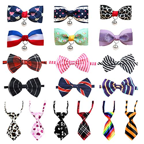 LZYMSZ Pet Bow Tie,18 Pack Adjustable Dog Ties Collar Butterfly Knot Puppy Neckties Bell Bowtie, Small Medium Large Dogs/Cats Accessories for Festival Party/Photography (Collar)