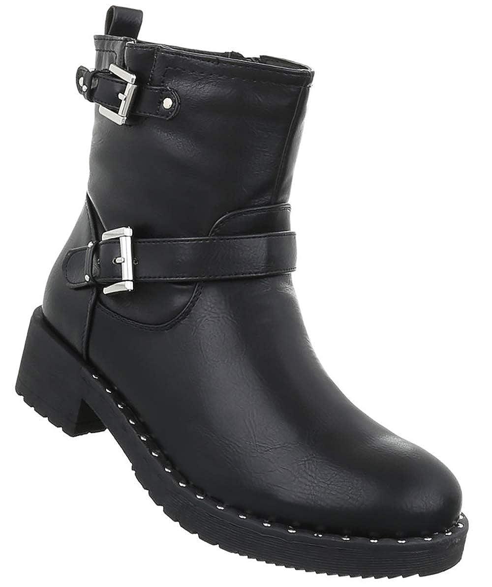 Damen Schuhe Stiefeletten Combat Combat Combat Stiefel Reißverschluss Leder-Optik Halbschaft Designer Worker Stiefel Schnallen 36-41 820773