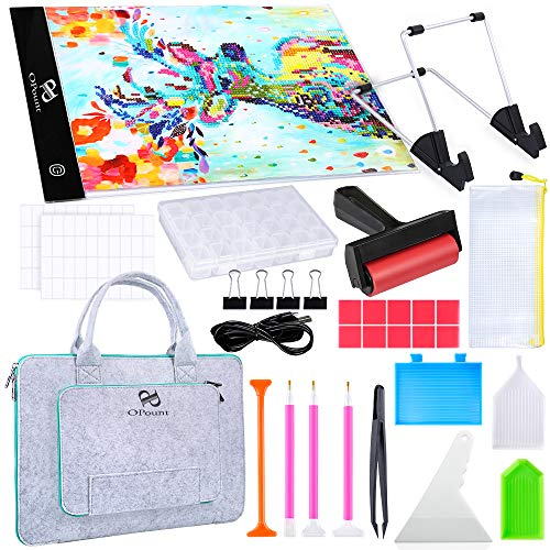 PP OPOUNT Full Range of 5D Diamond Painting Set with A4 LED Light Pad, Polyester Felt Hand Held Case Bag, Roller, Stand Holder, Diamond Embroidery Box and Diamond Painting Tools for Diamond Painting