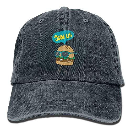 DEFFWB Hat Hamburger Join Us Denim Skull Cap Cowboy Cowgirl Sport Hats for Men Women