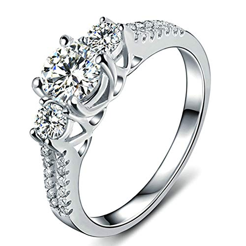 Scott ALlah Design - Size 7 - White Sapphire Lady's 10K White Gold Filled Jewellry Wedding Ring Three Stone Engagement Ring Style - Size 7