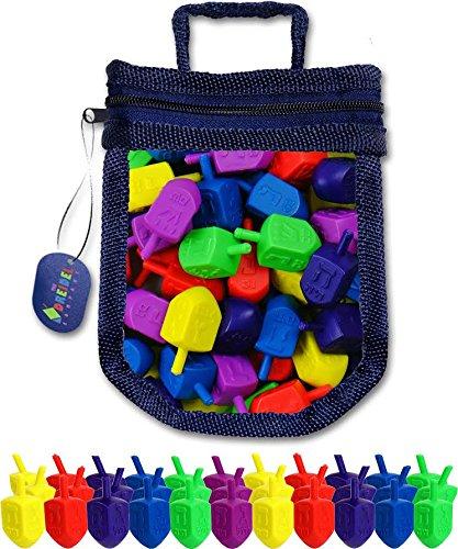 25 Plastic Dreidels Draydel Game with Instructions in keepsake Dreidel Shaped Bag