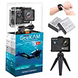 #9: GeeKam WiFi Sports Action Camera 4K 30fps Ultra HD Touch Screen 170° Wide Angle Lens Underwater Waterproof Camcorder with Remote Control 2 Rechargeable 1350mAh Batteries and Mounting Accessories