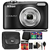 Nikon COOLPIX A10 16.1 MP Digital Camera (Black) + 24GB Memory Card + Wallet + Extra Batteries + Dust Blower + Lens Pen + Case + 3pc Cleaning Kit