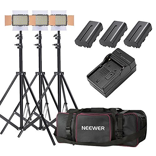 Neewer 3-Pack OE-160 Lighting Studio Light and Stand Kit Includes: (3)5600K Dimmable LED Video Light, (3)26-75 inches Light Stand, (3)Battery, (1)Charger, (1)Case for Studio and Product Photography by Neewer