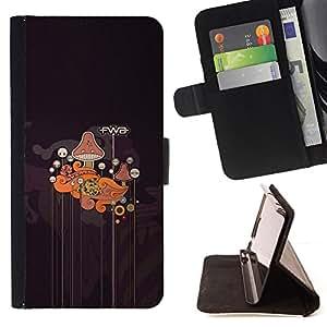 BullDog Case - FOR/Samsung Galaxy S5 V SM-G900 / - / Fwa Abstract Mushroom Pattern /- Monedero de cuero de la PU Llevar cubierta de la caja con el ID Credit Card Slots Flip funda de cuer