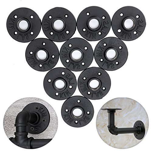 SUMNACON Industrial Pipe Floor Flange Fittings 3/4'', 10 Pack Black Iron Malleable Threaded Pipe Plumber Fitting For DIY Furniture Decor - Vintage Pipe Shelf Brackets/Paper Holder/Coat Rack