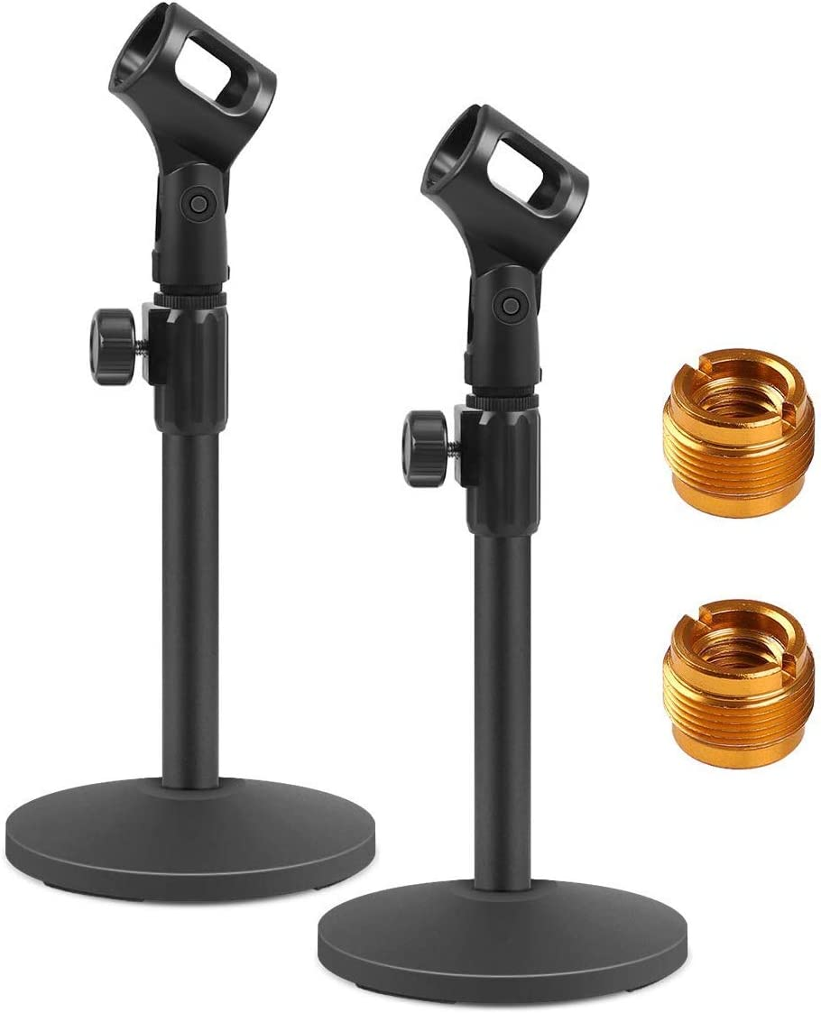 InnoGear Desktop Microphone Stand, Upgraded Adjustable Table Mic Stand with Mic Clip and 5/8