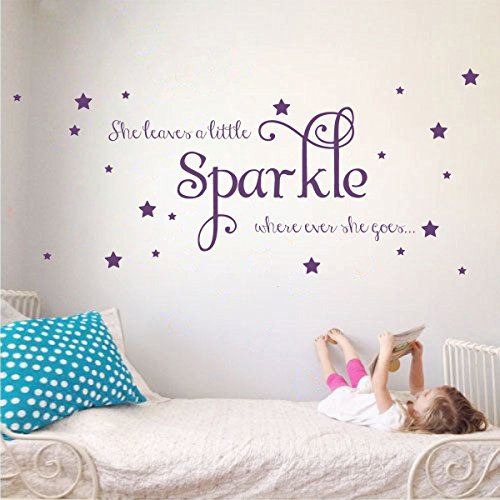 She Leaves a Little Sparkle Girls Room Vinyl Wall Decal Sticker Inspirational Quote with Stars (Violet, 15x36 inches) (Leaves She)