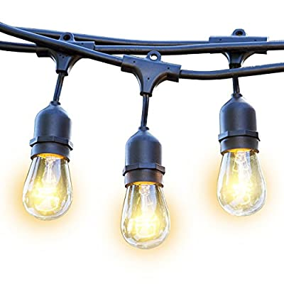 String Lights – Outdoor Weatherproof Commercial Grade Lighting – 11watt S14 Incandescent Bulbs with 15 Hanging Sockets – 17 Bulbs ( 15 + 2 gift ) – 48-Foot – by Ideapro