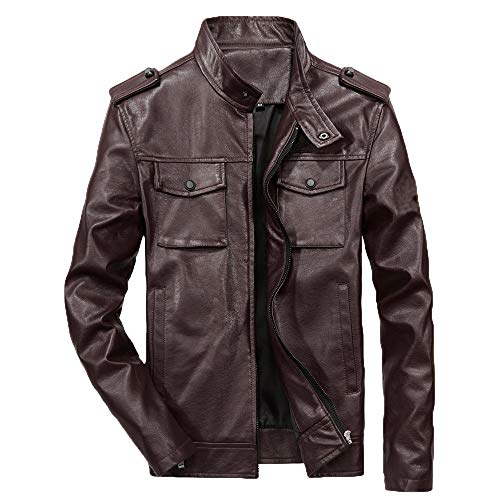 - Tactical Waterproof Jackets for Men.Men's Autumn Winter Casual Long Sleeve Solid Stand Zipper Leather Jacket Top