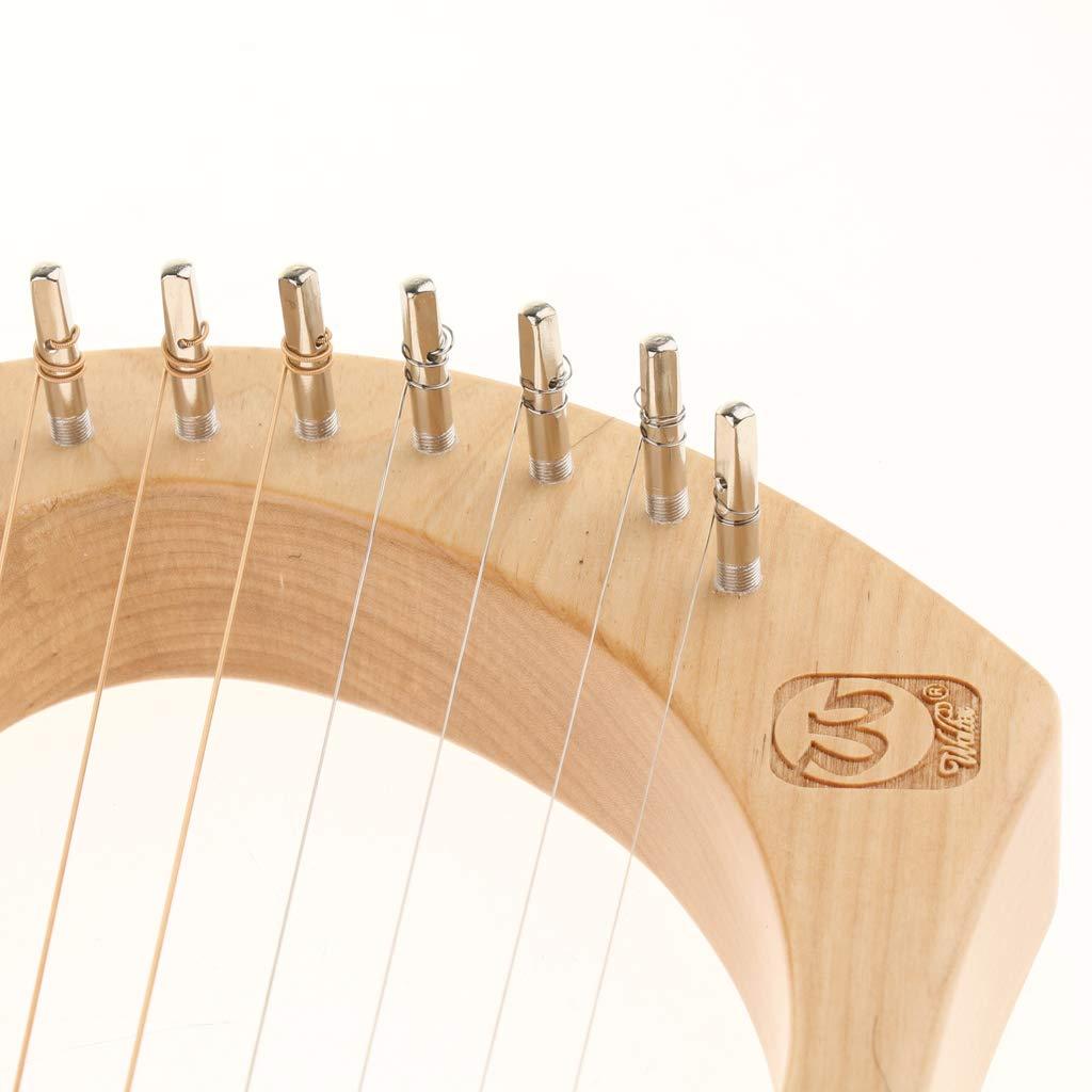 B Blesiya Mahogany 7 Strings Harp, with Tuning Wrench/&Bag Mahogany Instrument for Students Playing