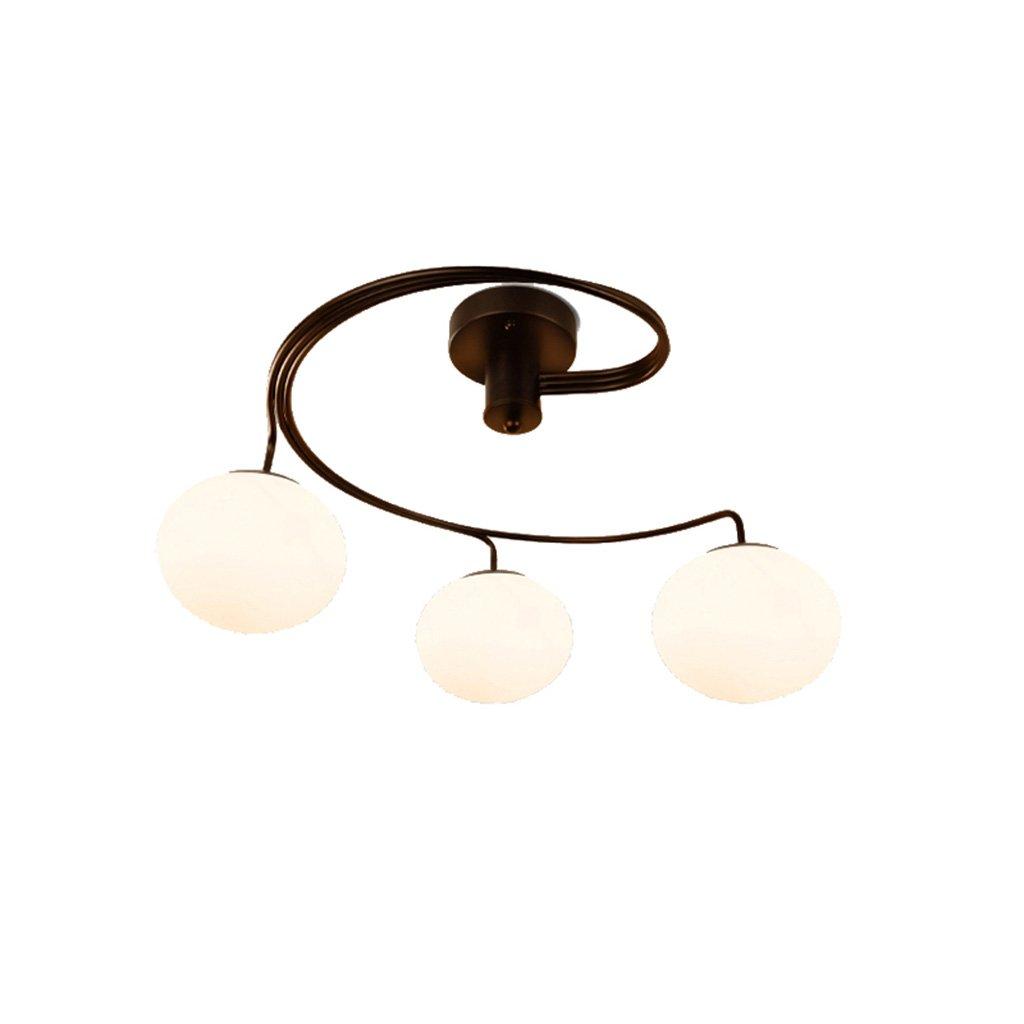 3 5 Kronleuchter Beleuchtung Schmiedeeisen Kronleuchter, cremige weiße Glastöne, moderne Kronleuchter Vintage halb-eingebettete Deckenleuchte für Restaurant Bett Zimmer Küche
