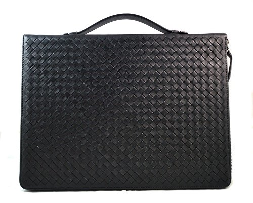 Black leather folder A4 document file folder A4 braided weaved leather zipped folder bag made in Italy office folder document folder by ItalianHandbags
