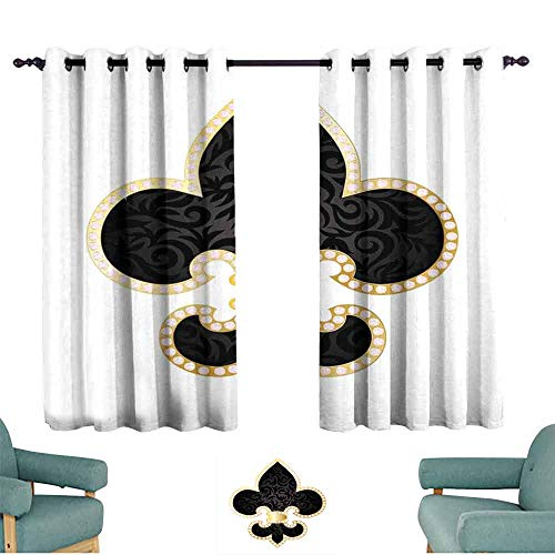 SONGDAYONE Fleur De Lis Blackout Curtain Royal Legend Lily Throne France Empire Family Insignia of Knights Image Protective Furniture Black Gold White (2 Panels,W96 xL72)