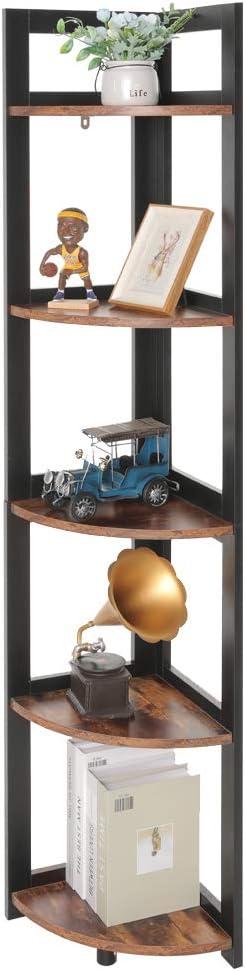 USIKEY Corner Ladder Shelf, 5-Tier Bookcase Accent Etagere, A-Shaped Display Corner Storage Rack, Wood Wall Corner Bookshelf, Plant Flower Stand Storage Display Rack for Living Room, Office