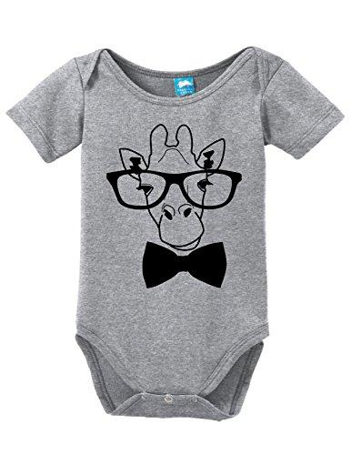 Giraffe Goofy - Sod Uniforms Giraffe Hipster Printed Infant Bodysuit Baby Romper Gray 0-3 Month