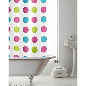 Bright Multi Spot 180 cm Long PEVA Shower Curtain Screen with 12 C Shaped Rings by Generic