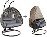 Island Gale Luxury 2 Person Outdoor, Patio, Hanging Wicker Swing Chair ((2 Person) X-Large-Plus, Charcoal Rattan/Charcoal Cushion