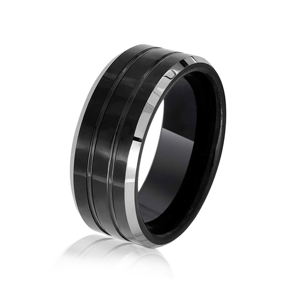 Bling Jewelry Anillo Tungsteno cónico acanalado Negro 8mm Anillo de Matrimonio: Amazon.es: Joyería