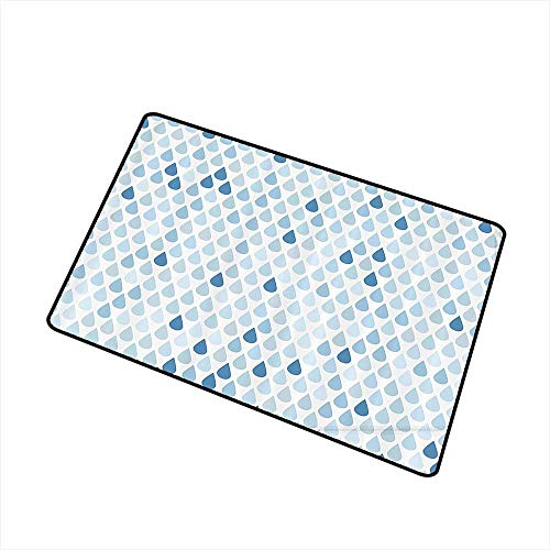 (Jbgzzm Outdoor Door mat Farmhouse Decor Minimalist Rain Drops Motive inTones Tears of Earth Air Gravity Image Art W24 xL35 Quick and Easy to Clean Light Blue)