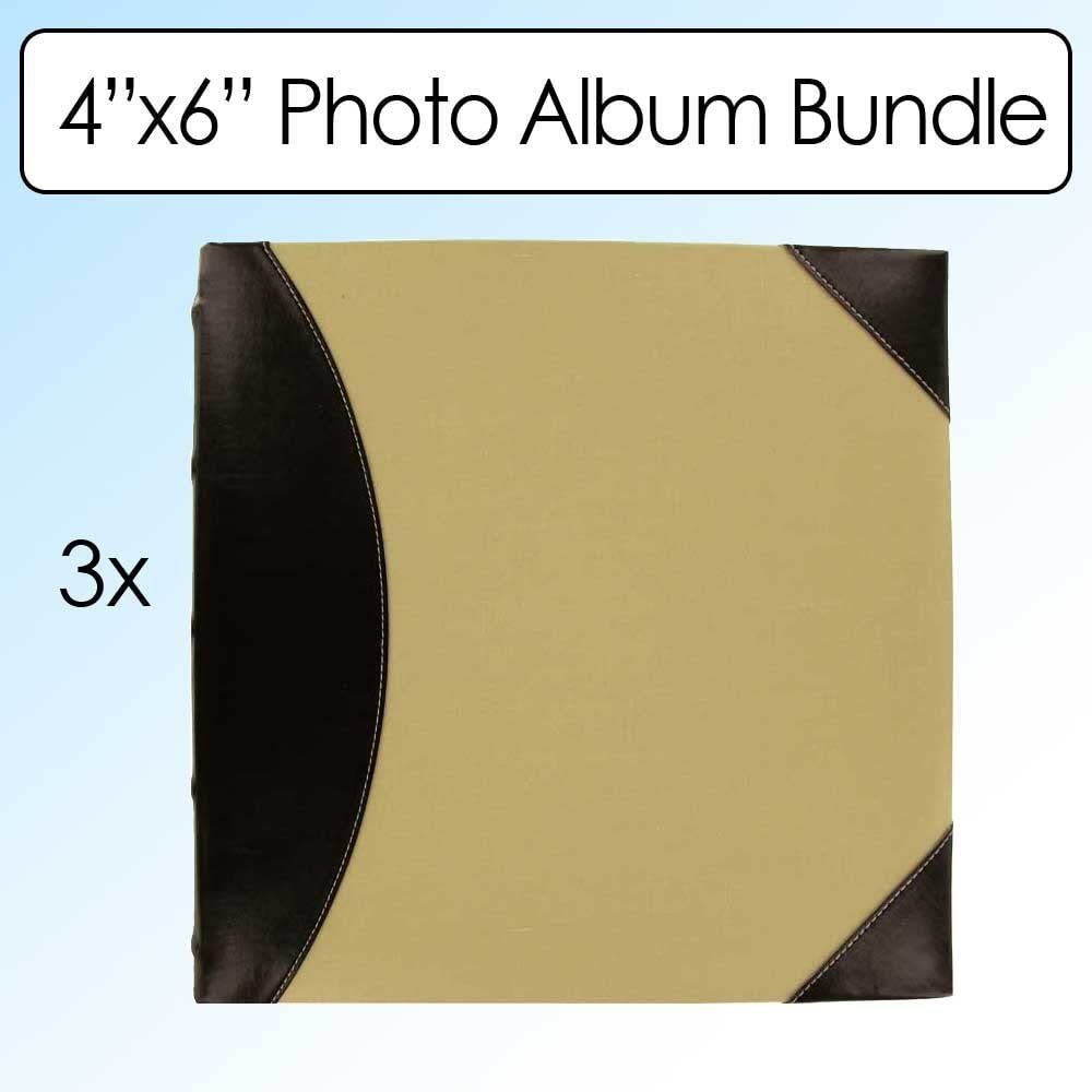 Pioneer Sewn BookBound Photo Album, Fabric Leatherette Cover, Holds 500 4x6 - Inch Photos, 5 Per Page, Black/Beige
