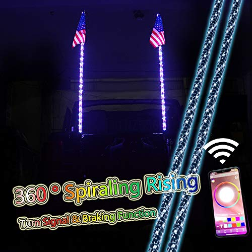 ZGAUTO 5FT 360 ° Spiraling Rising LED Whip Light Bluetooth Controlled with Music Mode &Turn Signal & Braking Function for Offroad Jeep Polaris RZR UTV ATV Sand Dune Buggy Quad Truck Boat(1 pair) (Best Atv For Sand Dunes)
