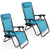 GHP Set of 2 Outdoor Beach Patio 300LBS Capacity Sky Blue Zero Gravity Lounge Recliner Chairs