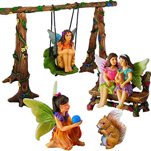 Mood Lab Fairy Garden - Accessories Kit with Miniature Figurines - Hand Painted Swing Set of 6 pcs - for Outdoor or House Decor (Miniature Gardens For Fairies)