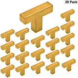 Square Storage Cabinet Knobs Brass Gold - Homdiy HDJ12GD Single T Knob with 2'' Overall Length Door Cabinet Hardware Stainless Steel Modern Kitchen Desk Drawer Dresser Knobs 20 Pack