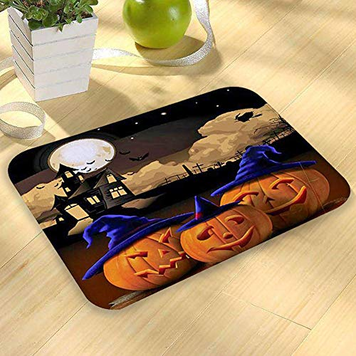 Mimgo-shop Halloween Pumpkin Indoor Mat Home Decoration Halloween Doormat Non-Slip Rubber Backing Floor Mat Door Mat 23.6(L) X 15.7(W) -