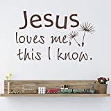 Jesus Loves Me This I Know Bible Verse Vinyl Wall Decal Christian Home Sticker Decor For Nursery Kid Room(Black,xs)