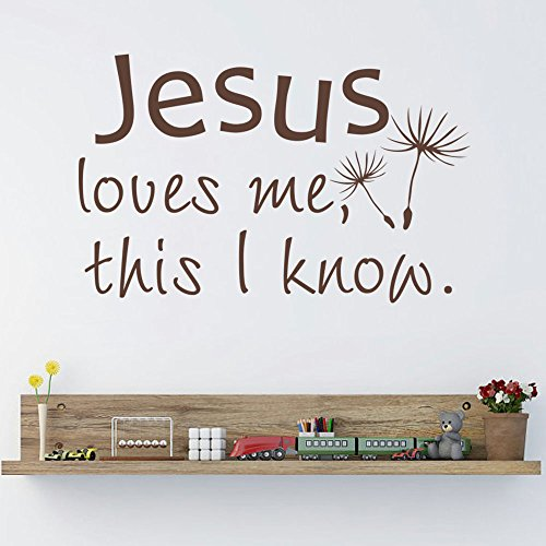 Jesus Loves Me This I Know Bible Verse Vinyl Wall Decal Christian Home Sticker Decor For Nursery Kid Room(Black,l) by Diggoo