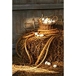 AOFOTO 5x7ft Farmhouse Barn Photography Background Easter Egg Backdrop Basket of Eggs on Haystack Rustic Kid Newborn Baby Child Infant Artistic Portrait Photoshoot Studio Props Video Drape Wallpaper