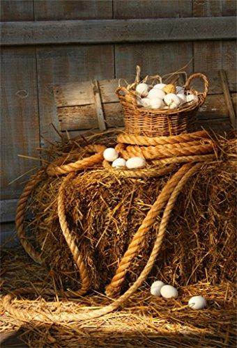 AOFOTO 5x7ft Farmhouse Barn Photography Background Easter Egg Backdrop Basket of Eggs on Haystack Rustic Kid Newborn Baby Child Infant Artistic Portrait Photoshoot Studio Props Video Drape Wallpaper