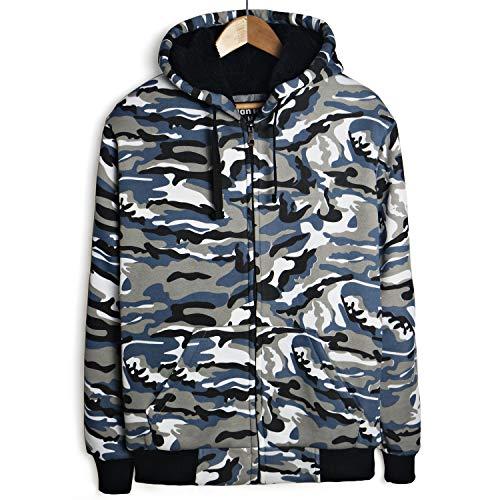 Leehanton Men's Sherpa Lined Heavyweight Fleece Hoodie Long Sleeve Full Zip Fashion Hoodies Sweatshirts  Camo Blue X-Large