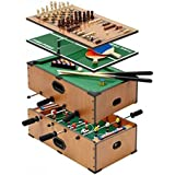 5 in 1 deluxe wooden compendium of games, Table games set. Billiard table, football table, table tennis, chess and backgammon set