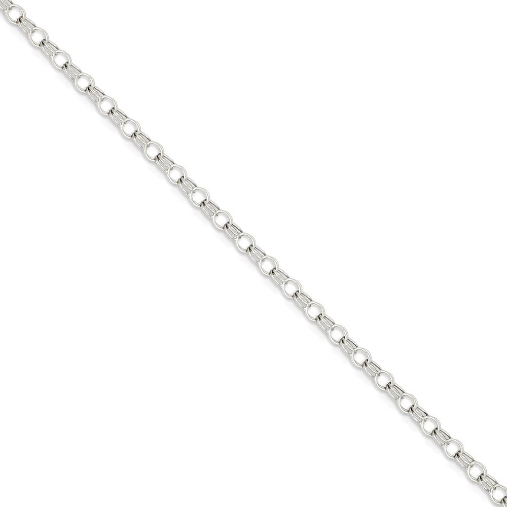 ICE CARATS 14k White Gold 3mm Solid Double Link Charm Bracelet 7 Inch Fine Jewelry Gift Set For Women Heart by ICE CARATS (Image #1)