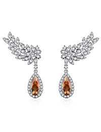 Chicinside Birthstone Leaves CZ Crystal Ear Cuff Climbers Dangle Earrings Silver Tone
