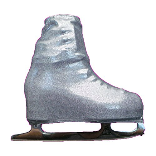 (Ice Skating Metallic Boot Covers by Kami-So Skatewear (Silver, Child))