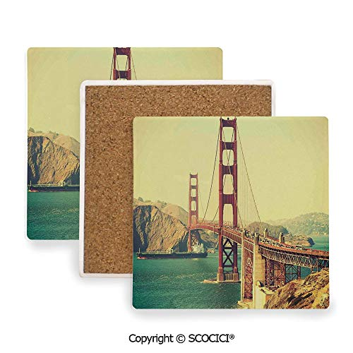 (Ceramic Coasters with Cork Base, Prevent Furniture from Dirty and Scratched, Suitable for Kinds of Mugs and Cups,Vintage,Old Film Featured Golden Gate Bridge Suspension,3.9