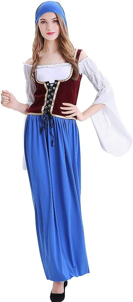 Vestidos Verano Mujer Disfraz de Oktoberfest para Mujer Camarera Criada Disfraz para Mujer Oktoberfest Fiesta de la Cerveza Alemana Beer Maiden Bavarian Disfraces