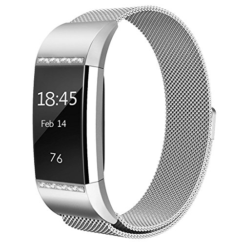 hooroor Compatible Bands Replacement for Fitbit Charge 2 Fitness Tracker Small Large Women Men, Magnetic Closure Clasp Milanese Loop Stainless Steel Sport Bracelet Wristbands (Bling Silver, Small)