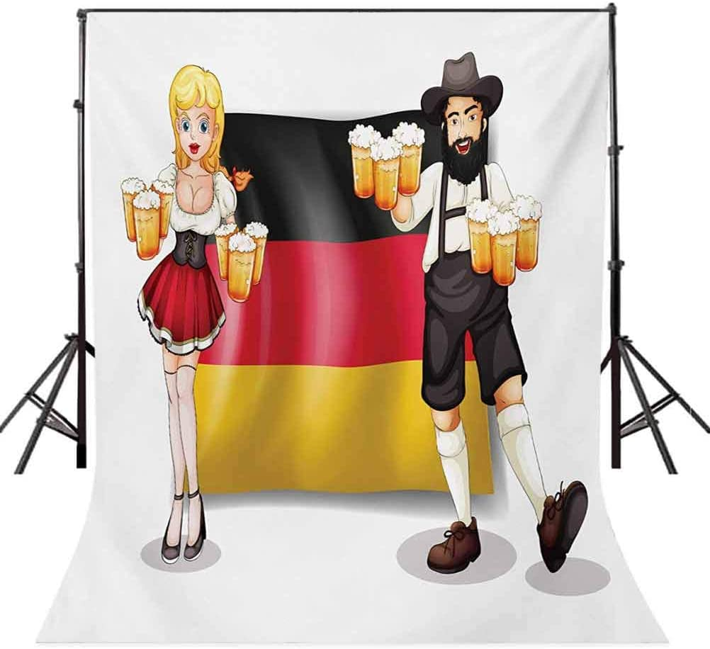German Flag with Man and Woman in Traditional Clothes European Culture Illustration Background for Baby Shower Bridal Wedding Studio Photography Pictures German 6.5x10 FT Photography Backdrop